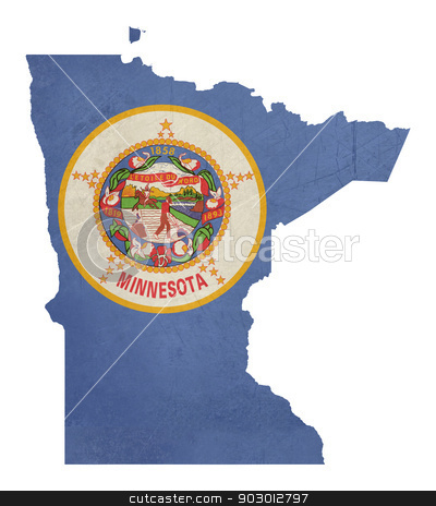 Grunge state of Minnesota flag map stock photo, Grunge state of Minnesota flag map isolated on a white background, U.S.A. by Martin Crowdy
