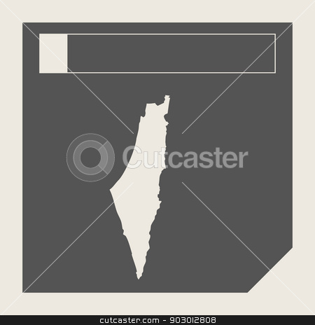 Israel map button stock photo, Israel map button in responsive flat web design map button isolated with clipping path. by Martin Crowdy