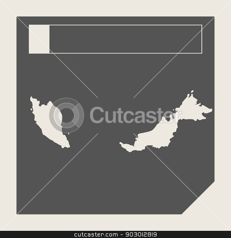 Malaysia map button stock photo, Malaysia map button in responsive flat web design map button isolated with clipping path. by Martin Crowdy