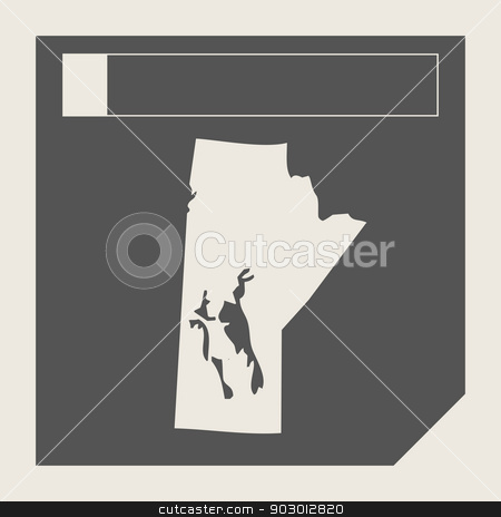 Manitoba state in Canada stock photo, Manitoba state in Canada responsive flat web design map button isolated with clipping path. by Martin Crowdy