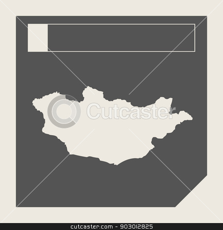 Mongolia map button stock photo, Mongolia map button in responsive flat web design map button isolated with clipping path. by Martin Crowdy
