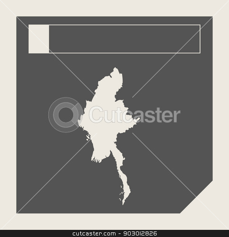 Myanmar map button stock photo, Myanmar map button in responsive flat web design map button isolated with clipping path. by Martin Crowdy