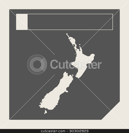 New Zealand map button stock photo, New Zealand map button in responsive flat web design isolated with clipping path. by Martin Crowdy