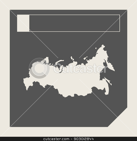 Russia map button stock photo, Russia map button in responsive flat web design map button isolated with clipping path. by Martin Crowdy