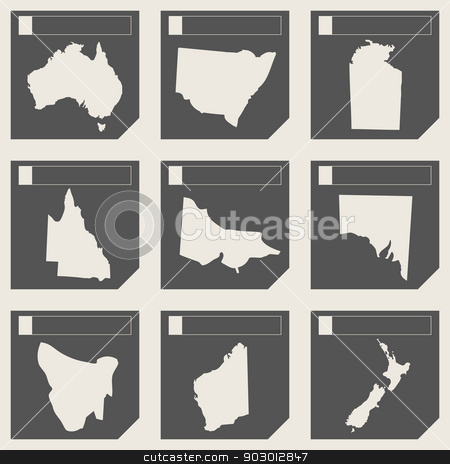 Set of Australia map buttons stock photo, Set of Australia map buttons in responsive flat web design isolated with clipping path. by Martin Crowdy