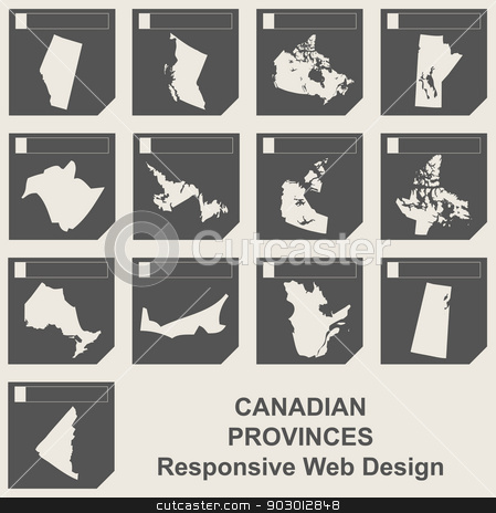 Set of Canadian province map buttons stock photo, Set of Canadian provinces responsive flat web design map buttons isolated with clipping path. by Martin Crowdy