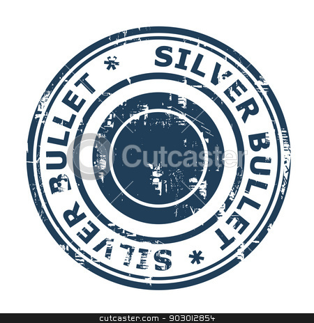 Silver bullet business stamp stock photo, Silver bullet business stamp isolated on a white background. by Martin Crowdy