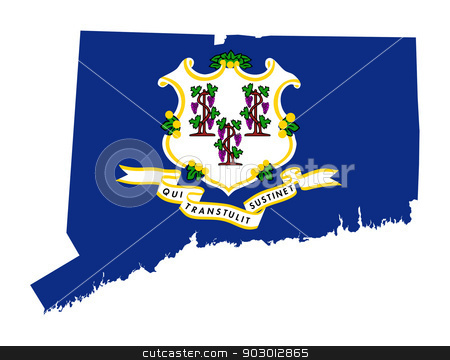 State of Connecticut flag map stock photo, State of Connecticut flag map isolated on a white background, U.S.A.  by Martin Crowdy