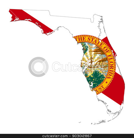 State of Florida flag map stock photo, State of Florida flag map isolated on a white background, U.S.A.  by Martin Crowdy