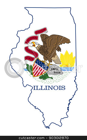 State of Illinois flag map stock photo, State of Illinois flag map isolated on a white background, U.S.A.  by Martin Crowdy