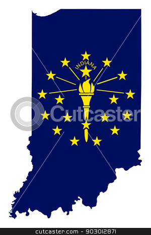 State of Indiana flag map stock photo, State of Indiana flag map isolated on a white background, U.S.A. by Martin Crowdy