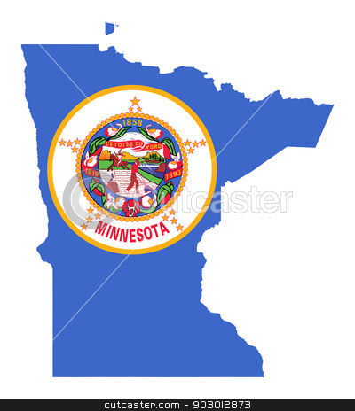State of Minnesota flag map stock photo, State of Minnesota flag map isolated on a white background, U.S.A. by Martin Crowdy