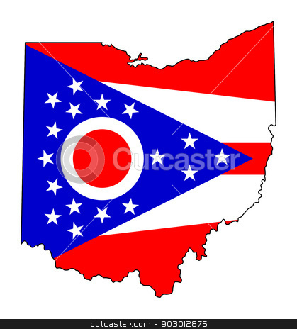 State of Ohio flag map stock photo, State of Ohio flag map isolated on a white background, U.S.A. by Martin Crowdy