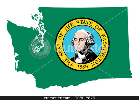 State of Washington flag map stock photo, State of Washington flag map isolated on a white background, U.S.A.  by Martin Crowdy