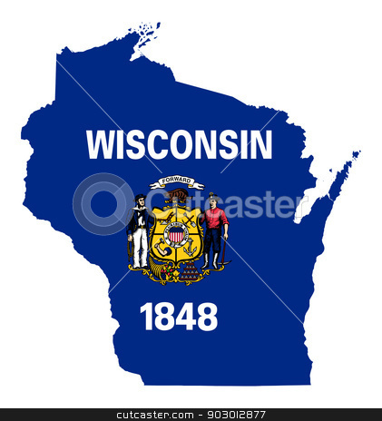 State of Wisconsin flag map stock photo, State of Wisconsin flag map isolated on a white background, U.S.A.  by Martin Crowdy
