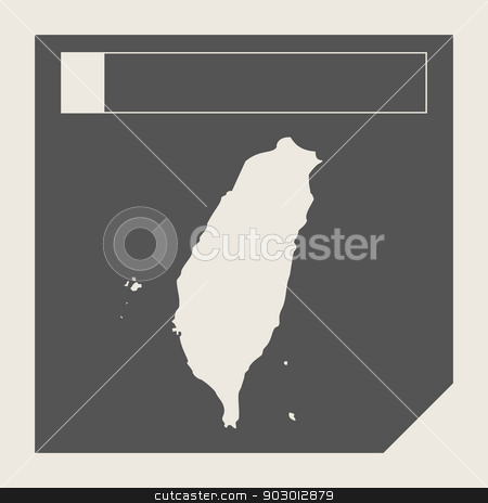 Taiwan map button stock photo, Taiwan map button in responsive flat web design map button isolated with clipping path. by Martin Crowdy