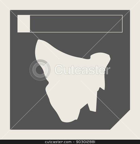 Tasmania map button stock photo, Tasmania map button in responsive flat web design isolated with clipping path. by Martin Crowdy