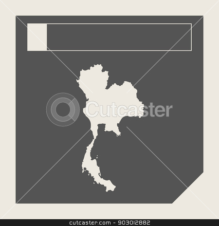 Thailand map button stock photo, Thailand map button in responsive flat web design map button isolated with clipping path. by Martin Crowdy