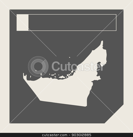 United Arab Emirates map button stock photo, United Arab Emirates map button in responsive flat web design map button isolated with clipping path. by Martin Crowdy