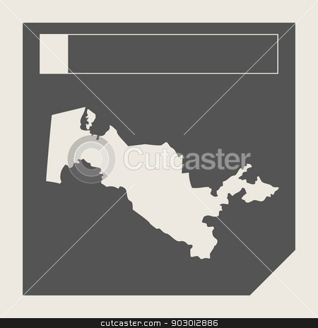 Uzbekistan map button stock photo, Uzbekistan map button in responsive flat web design map button isolated with clipping path. by Martin Crowdy