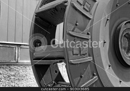industrial mill wheel stock photo, industrial coal mill wheel details (close up) bw by Jozsef Demeter