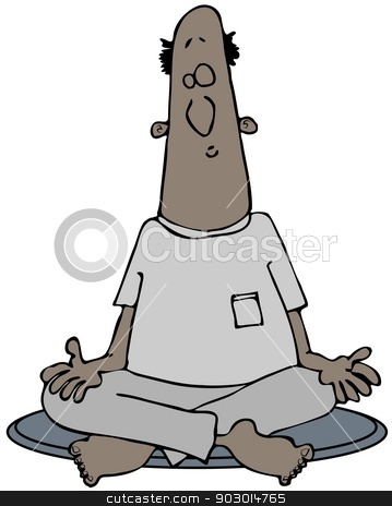 Man meditating with legs crossed stock photo, This illustration depicts a black man meditating while sitting with his legs crossed and palms up. by Dennis Cox