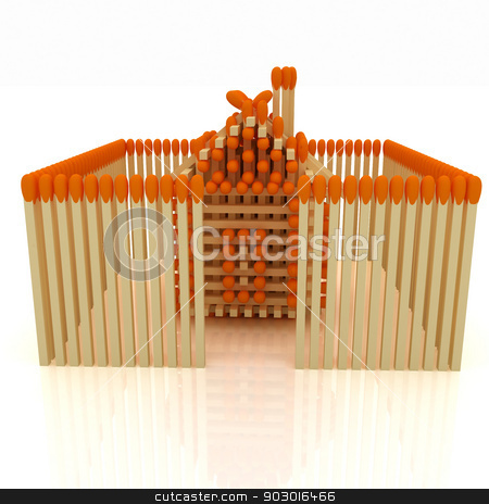 Log house from matches pattern stock photo, Log house from matches pattern on white  by Guru3D