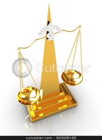 Gold scales  stock photo, Gold scales on a white background by Guru3D
