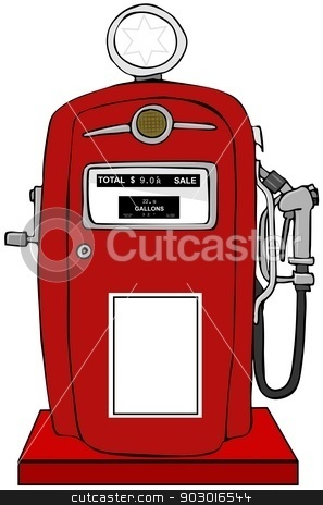Old gas pump stock photo, This illustration depicts a red gasoline pump from the 50's. by Dennis Cox
