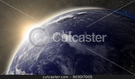 Sun over Pacific ocean stock photo, Sunset over Pacific ocean on planet Earth viewed from space with Moon and stars in the background. Elements of this image furnished by NASA. by Harvepino