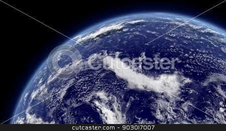 Pacific ocean stock photo, Pacific ocean viewed from space with atmosphere and clouds. Elements of this image furnished by NASA. by Harvepino