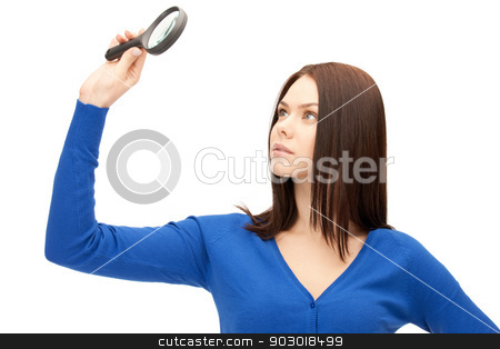 woman with magnifying glass stock photo, picture of beautiful woman with magnifying glass by Syda Productions