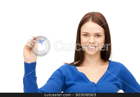 businesswoman with dart stock photo, bright picture of confident businesswoman with dart by Syda Productions