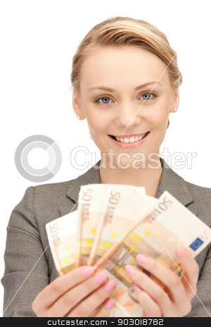 lovely woman with euro cash money stock photo, picture of lovely woman with euro cash money by Syda Productions