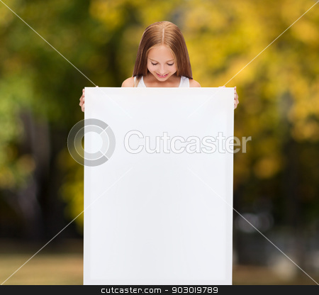 little girl with blank white board stock photo, education and blank board concept - little girl with blank white board by Syda Productions