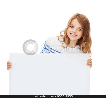 smiling little girl with blank white board stock photo, education and blank board concept - smiling little girl with blank white board by Syda Productions