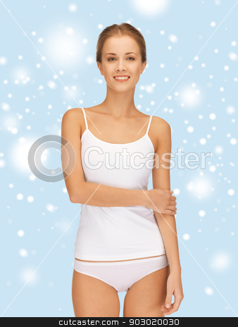 beautiful woman in cotton undrewear stock photo, health, beauty, spa and happiness concept - beautiful woman in white cotton undrewear by Syda Productions