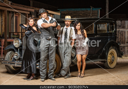 Mixed Group of Gangsters stock photo, Mixed group of 1920s vintage gangsters outside by Scott Griessel