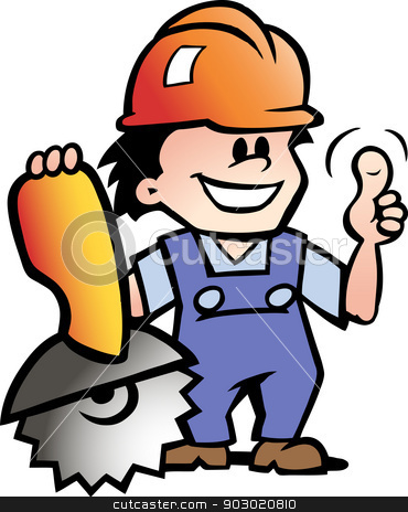 Hand-drawn Vector illustration of an Happy Mechanic or Handyman stock vector clipart,  by DrawShop - Poul Carlsen