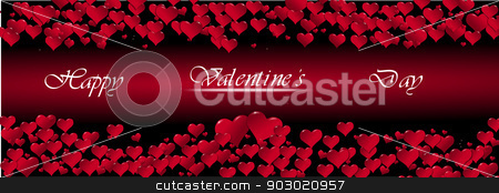 Illustration of hearts on a red background centered stock photo, Illustration of hearts for a Valentine's Day on a red background by sylwia