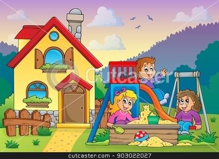 Children playing near house theme 1 stock vector clipart, Children playing near house theme 1 - eps10 vector illustration. by Klara Viskova