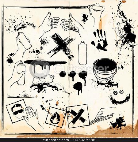 set of graffiti vandalism stock photo, Grunge design elements collection by Pavel