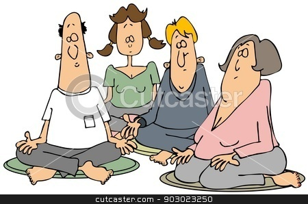 Group of meditators stock photo, This illustration depicts two men and a couple of women sitting cross-legged while meditating. by Dennis Cox