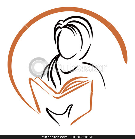 Education icon stock vector clipart, Symbol of women learning from book by Oxygen64