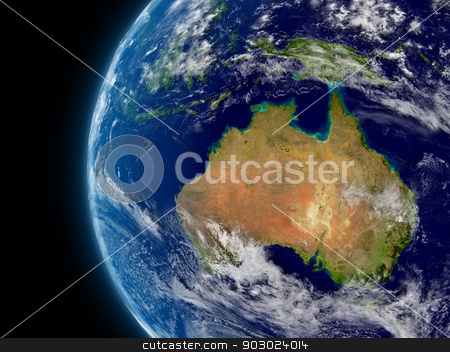 Australia stock photo, Australia viewed from space with atmosphere and clouds. Elements of this image furnished by NASA. by Harvepino