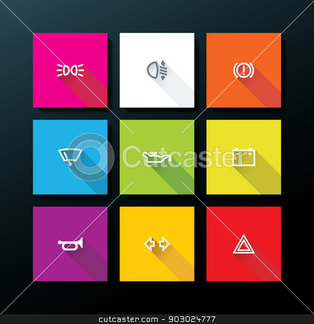 Vector flat car dashboard icon set stock vector clipart, Flat car dashboard icon set - vector illustration by ojal_2