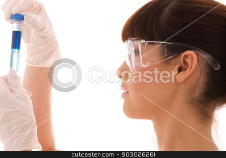 lab work stock photo, beautiful female lab worker holding up test tube by Syda Productions