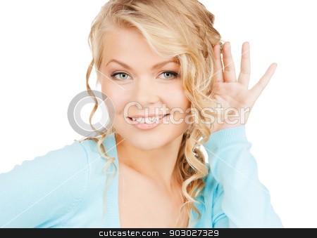 happy woman listening gossip stock photo, business, communication concept - bright picture of happy woman listening gossip by Syda Productions