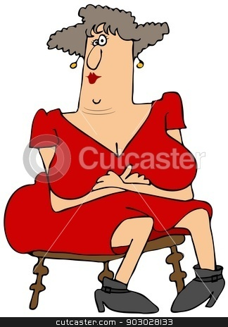 Woman with large breasts stock photo, This illustration depicts a seated woman with her large bosoms overflowing beyond her crossed arms. by Dennis Cox