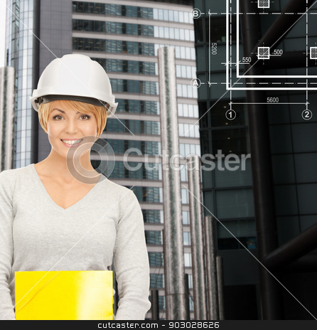 female contractor in white helmet with files stock photo, building, developing, consrtuction, architecture concept - female contractor in white helmet with blueprint by Syda Productions